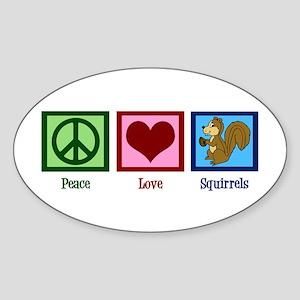 Peace Love Squirrels Sticker (Oval)