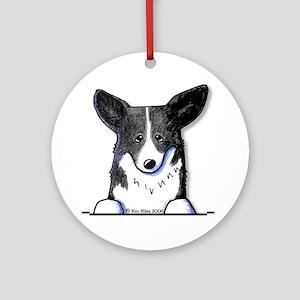 B/W Pocket Corgi Ornament (Round)