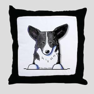 B/W Pocket Corgi Throw Pillow