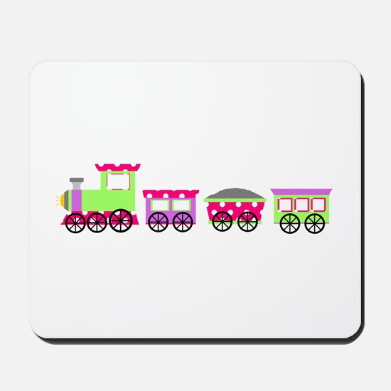 Pink Polka Dot Girl Choo Choo Train Mousepad