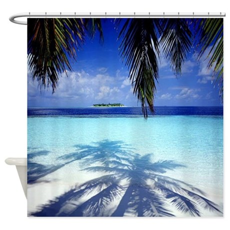 Paradise Tropical Island Shower Curtain By Walela