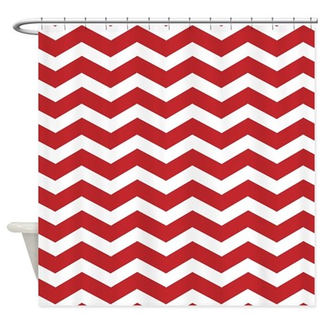 Red Chevron Shower Curtain