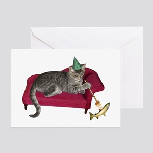 Cat on Couch Greeting Card