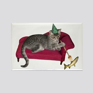 Cat on Couch Rectangle Magnet