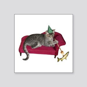 """Cat on Couch Square Sticker 3"""" x 3"""""""