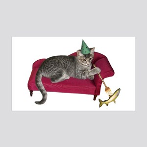 Cat on Couch 35x21 Wall Decal