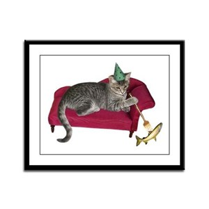 Cat on Couch Framed Panel Print