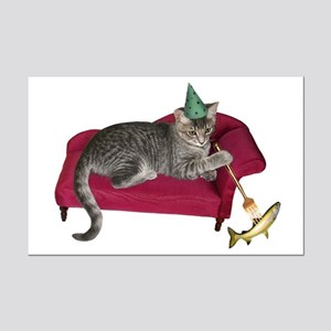 Cat on Couch Mini Poster Print