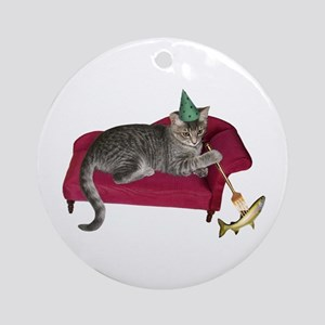 Cat on Couch Ornament (Round)