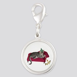 Cat on Couch Silver Round Charm