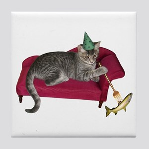Cat on Couch Tile Coaster