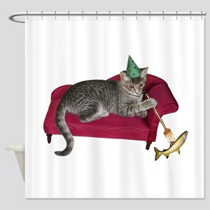 Cat on Couch Shower Curtain