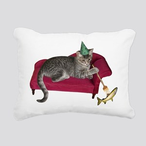 Cat on Couch Rectangular Canvas Pillow