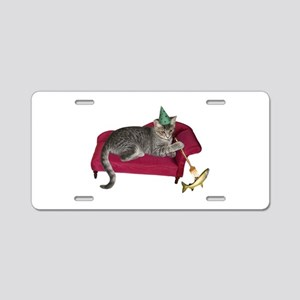 Cat on Couch Aluminum License Plate