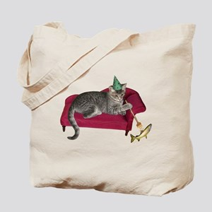 Cat on Couch Tote Bag