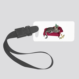 Cat on Couch Small Luggage Tag