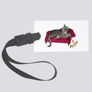 Cat on Couch Large Luggage Tag