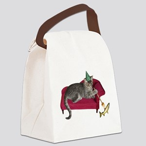 Cat on Couch Canvas Lunch Bag