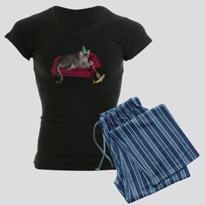 Cat on Couch Women's Dark Pajamas