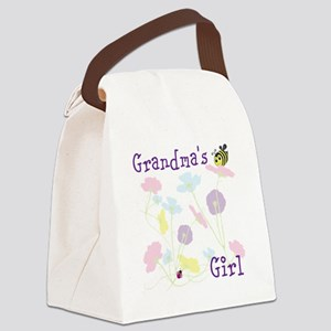 Flower Bees and Lady Bug Canvas Lunch Bag