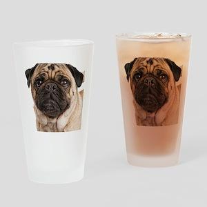 Pug Close-Up Drinking Glass