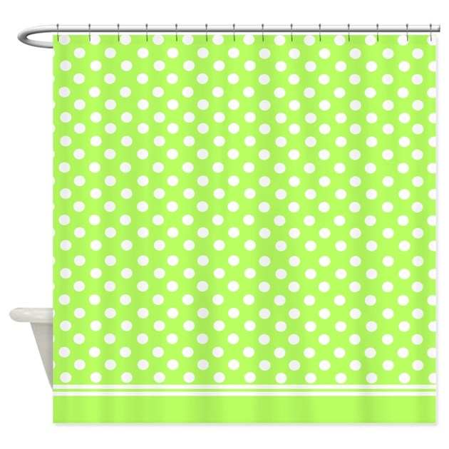 Lime Green Polka Dots Shower Curtain By Inspirationzstore