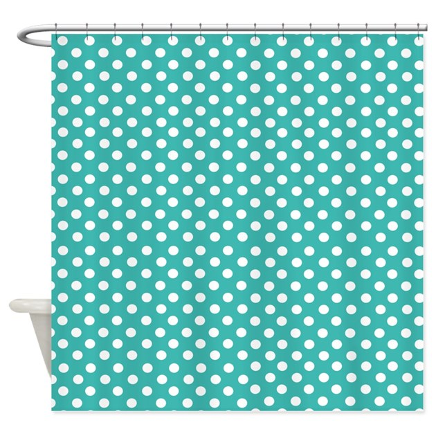 turquoise teal polka dot shower curtain by inspirationzstore. Black Bedroom Furniture Sets. Home Design Ideas