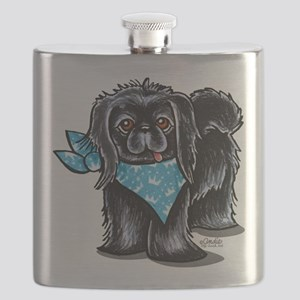 Black Pekingese Boy Flask