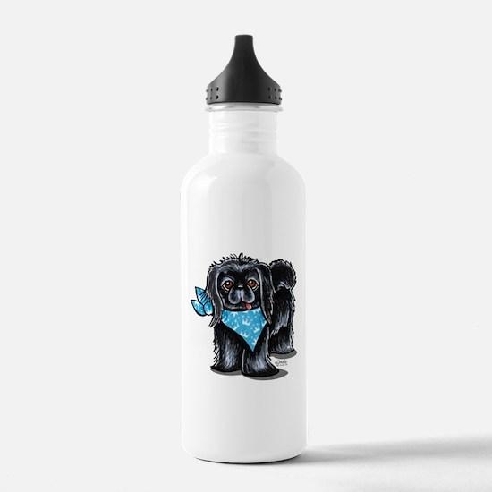 Black Pekingese Boy Water Bottle