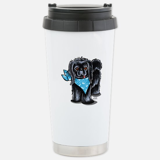 Black Pekingese Boy Stainless Steel Travel Mug