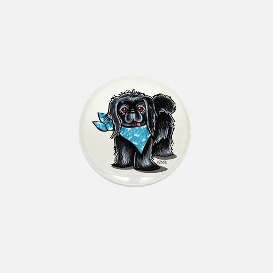 Black Pekingese Boy Mini Button