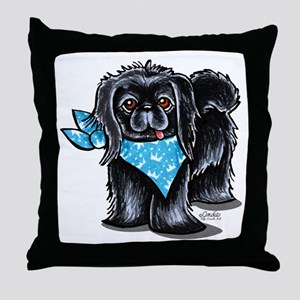 Black Pekingese Boy Throw Pillow
