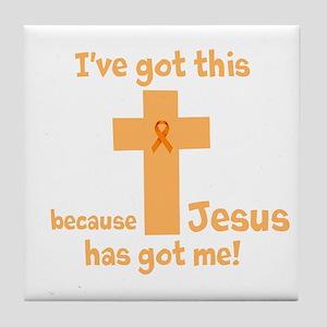 Peach Jesus Has Got Me Tile Coaster