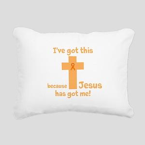 Peach Jesus Has Got Me Rectangular Canvas Pillow