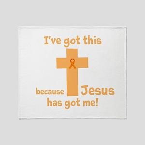 Peach Jesus Has Got Me Throw Blanket