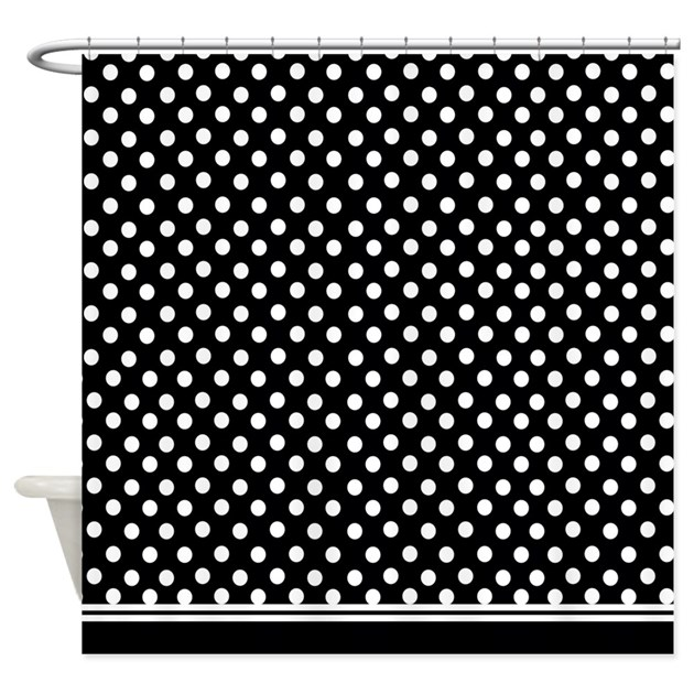 black and white polka dot shower curtain by inspirationzstore. Black Bedroom Furniture Sets. Home Design Ideas