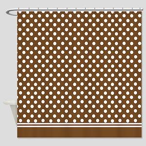Brown polka dot Shower Curtain