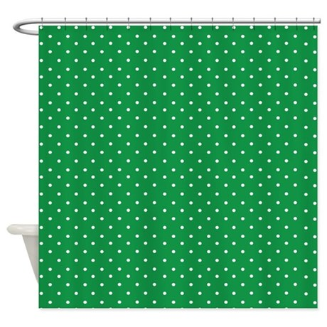 Tiny green polka dot Shower Curtain by InspirationzStore