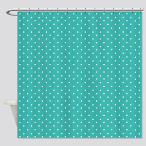 Small polka dots Turquoise Shower Curtain