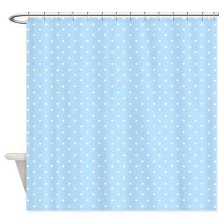 Small polka dot light blue Shower Curtain by InspirationzStore