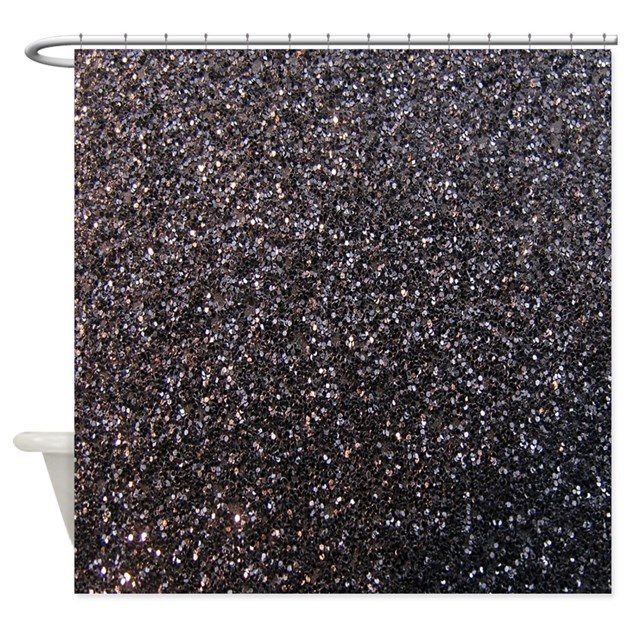 Black Faux Glitter Texture Shower Curtain Matte By