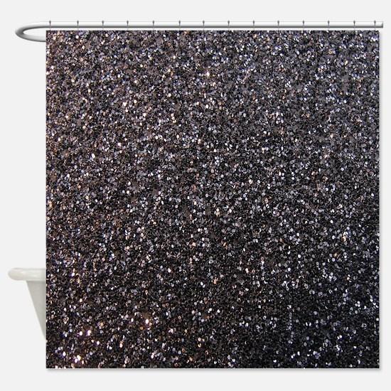 Black faux glitter texture shower curtain (matte)