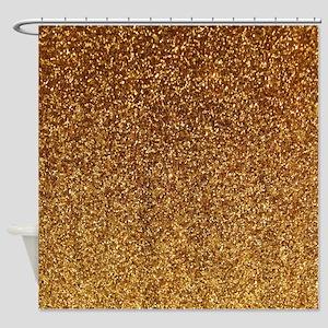 Faux Gold glitter texture shower curtain (matte)