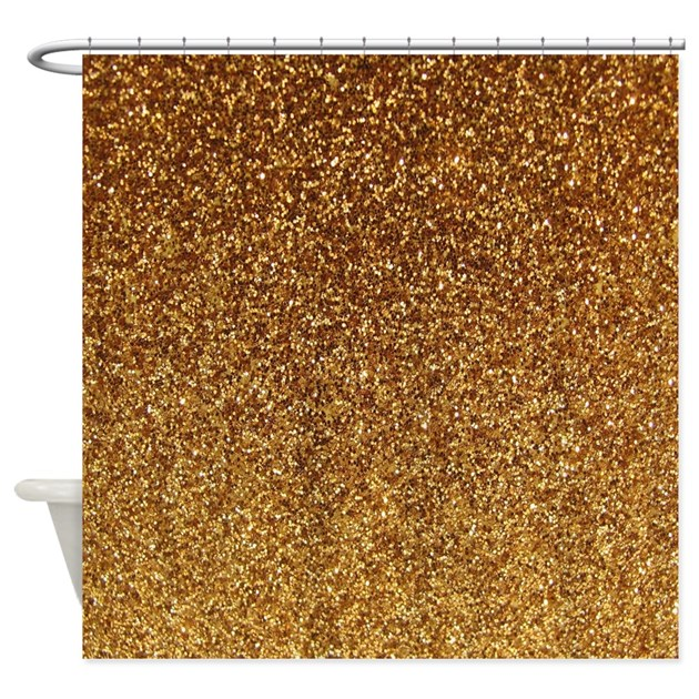Faux Gold glitter texture shower curtain (matte) by InspirationzStore