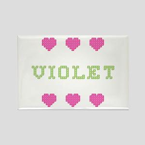 Violet Cross Stitch Rectangle Magnet