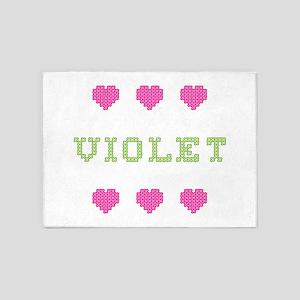 Violet Cross Stitch 5'x7' Area Rug