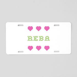 Reba Cross Stitch Aluminum License Plate