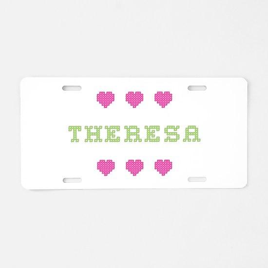 Theresa Cross Stitch Aluminum License Plate