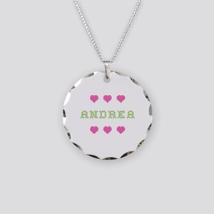 Andrea Cross Stitch Necklace Circle Charm