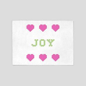 Joy Cross Stitch 5'x7' Area Rug